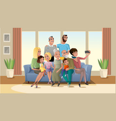 selfie photo of big happy family cartoon vector image
