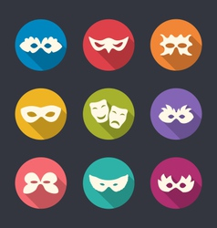 set flat icons carnival or theatre masks vector image