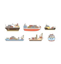 set modern cargo ship icons with loading crane vector image