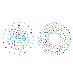 Set of colorful explosion of confetti flat vector