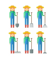 Set of farmers woman vector