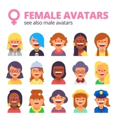 Set of female avatars See also male collection vector