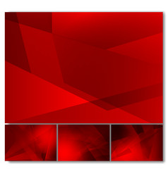 set of red color geometric abstract background vector image
