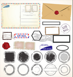 set post stamp symbols vector image