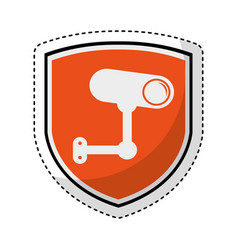 shield insurance with cctv camera isolated icon vector image