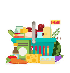 shopping basket with fresh food and drinkbuy vector image