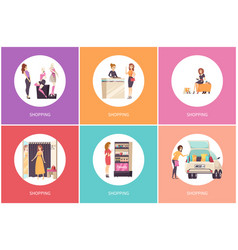 Shopping females in clothes store posters vector