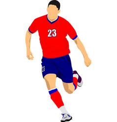 Soccer player in red-blue uniforms colored for vector