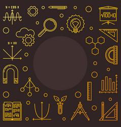 stem learning square golden frame outline vector image