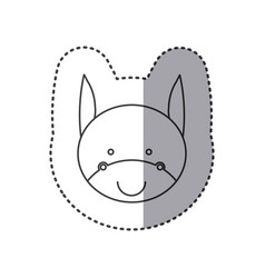 sticker of grayscale contour with face of donkey vector image