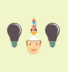 successful businessman with rocket ship launching vector image