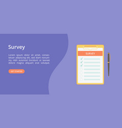 survey form on clipboard with hands landing page vector image
