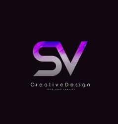 Sv letter logo design purple texture creative vector