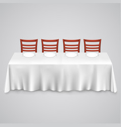 Table with a tablecloth and chair vector