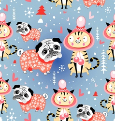 Texture in love cats and pugs winter vector