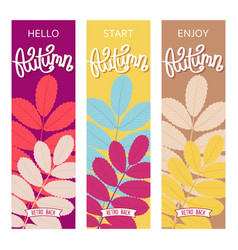 three autumn banner vector image