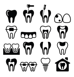Tooth teeth dental clinic icons set vector image
