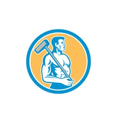 Union worker with sledgehammer circle retro vector