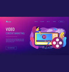 video content marketing concept landing page vector image