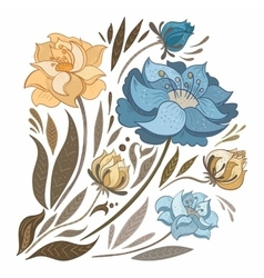 Vintage fall flowers set vector
