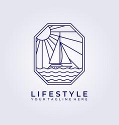 Wanderlust adventure sail ship boat logo icon vector