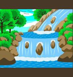 Water fall forest vector