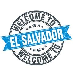 Welcome to El Salvador blue round vintage stamp vector