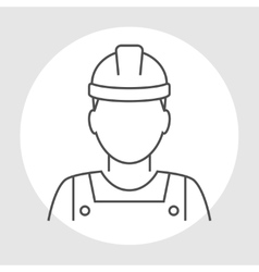 Worker avatar line icon vector image