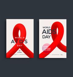World aids day poster design with red shape vector