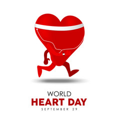 world heart day card for exercise and health vector image