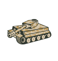 world war two panzer tank retro vector image