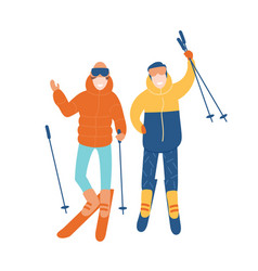 young couple or pair friends skiing together vector image
