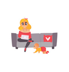Young mother woman working from home freelancer vector