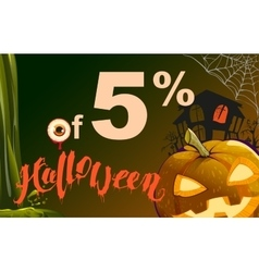 5 percent discount Halloween Sales pumpkin vector image