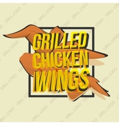 Creative logo design with grilled chicken wings vector