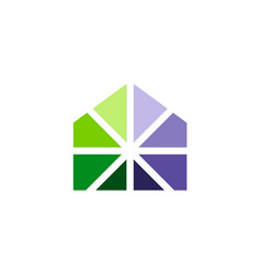 Home abstract geometry colored logo vector