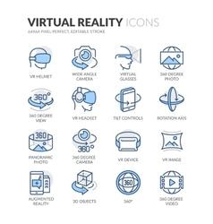 Line Virtual Reality Icons vector image vector image