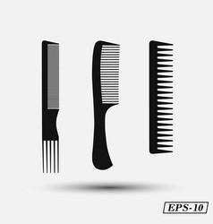 set silhouette comb barber comb black plastic vector image