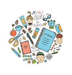 Sketch school stationery set and children icons vector