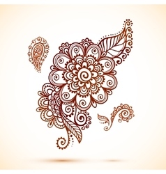 Vintage element in Indian mehndi style vector image