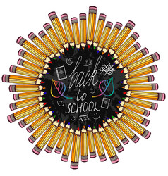 back to school frame with colorful pencil and vector image vector image