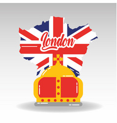 london map with england flag inside and royal vector image