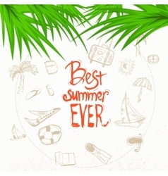 summer doodle with lettering and palm vector image vector image