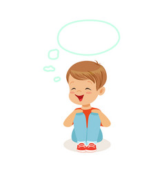 adorable little boy dreaming with a thought bubble vector image vector image