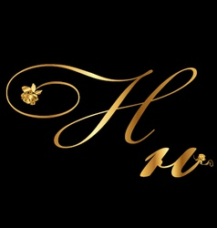 Gold letter H with roses vector image vector image