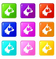 Pug dog icons 9 set vector