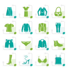 stylized clothing and dress icons vector image vector image