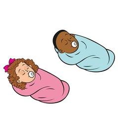 babies bundled girl boy vector image vector image