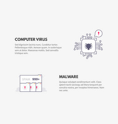 computer virus and malware cyber security concept vector image