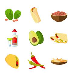 mexican taco burrito and nachos food avocado vector image vector image